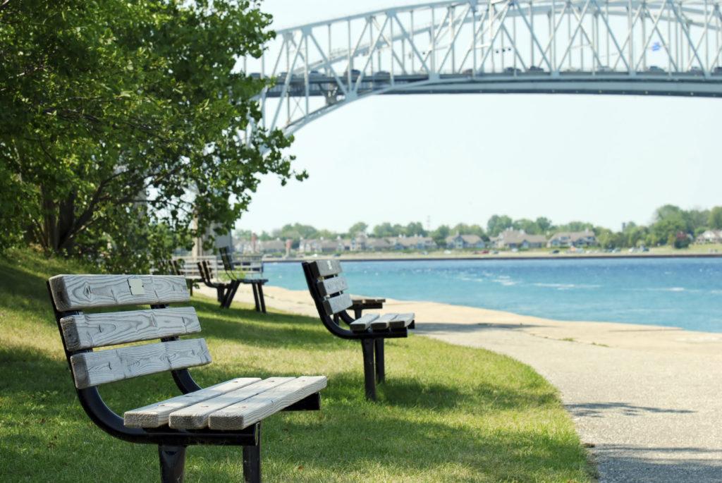 park bench Sarnia ontario blue water bridge